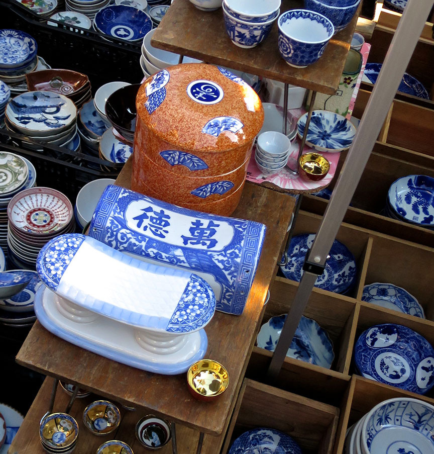 Porcelain pillows being sold at the Setagaya Boroichi flea market in Tokyo