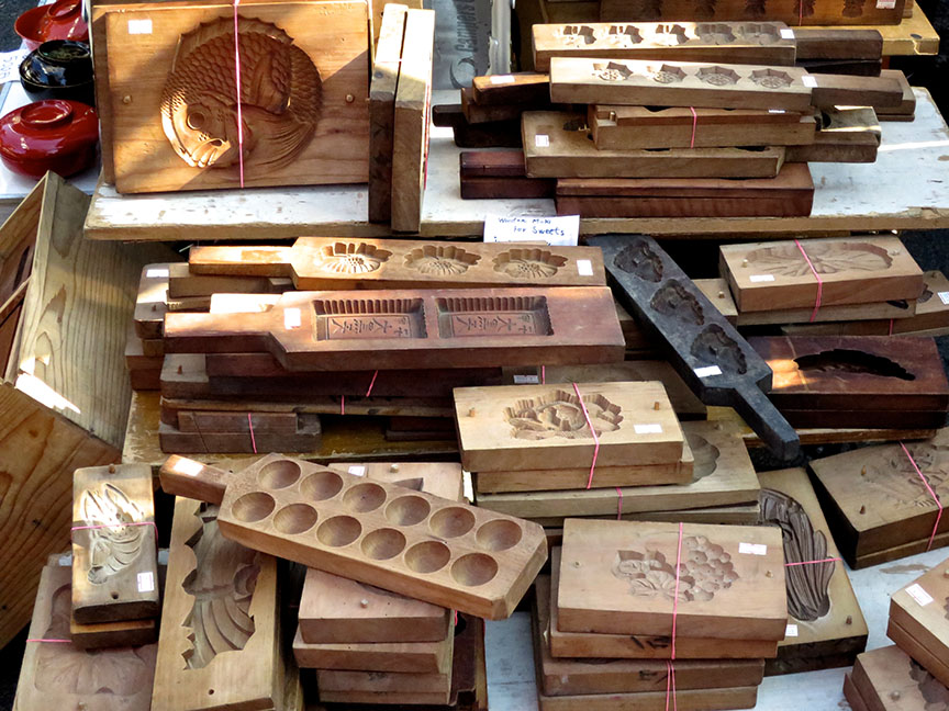 Wooden Japanese sweets molds being sold at the Setagaya Boroichi flea market in Tokyo