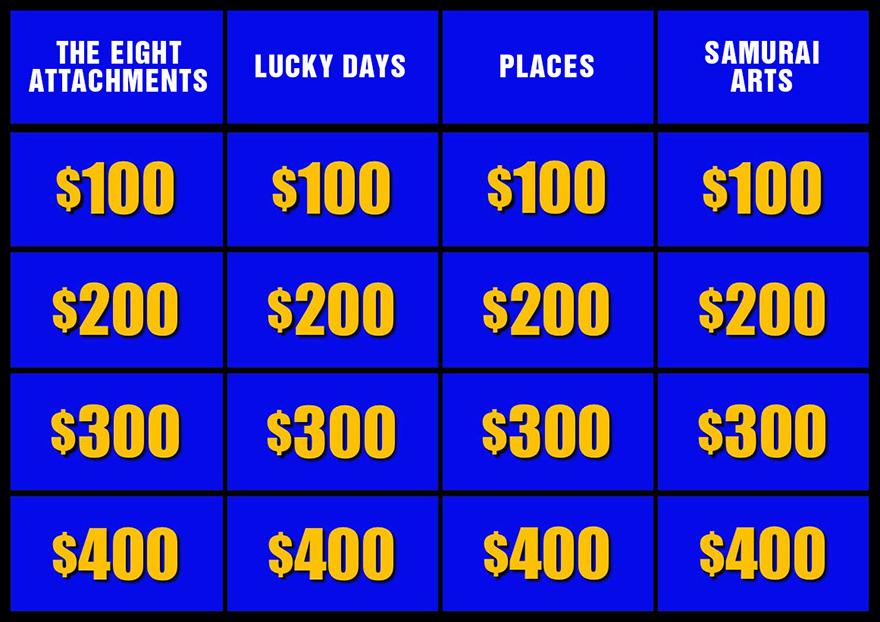 The Last Tea Bowl Thief Jeopardy board