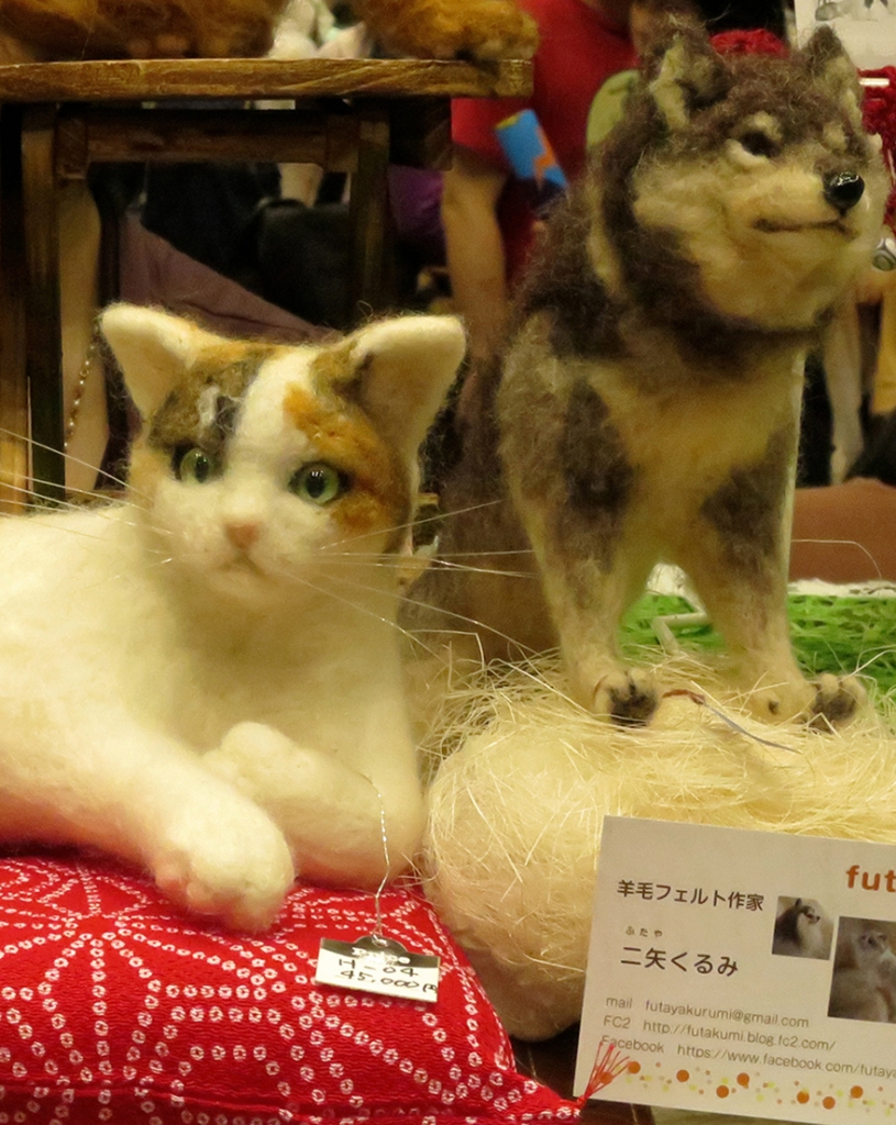 Felted cat and dog portraits by Futakurumi at Design Festa in Tokyo