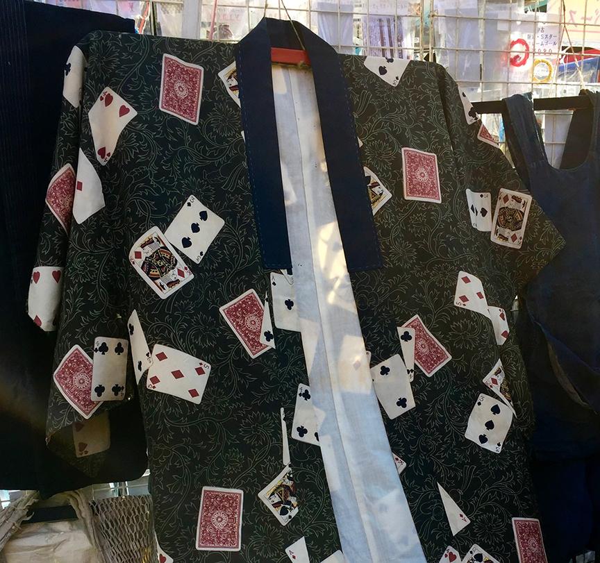Vintage kimono with card pattern being sold at the Setagaya Boroichi flea market in Tokyo