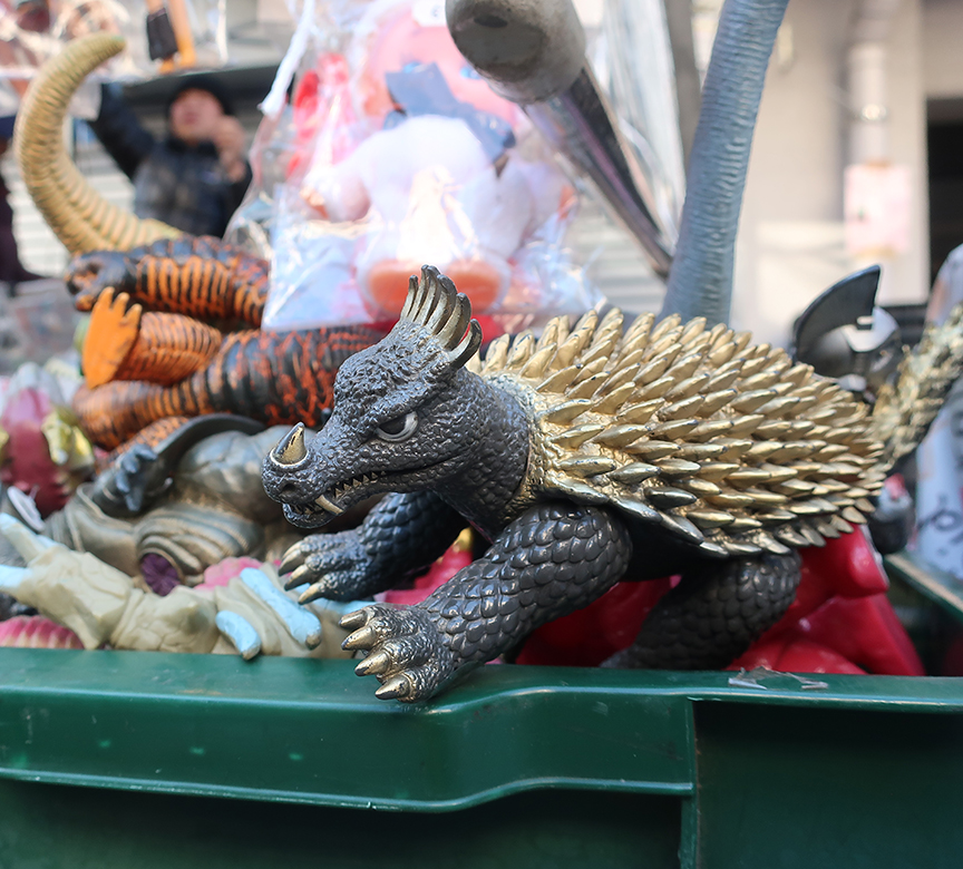 Godzilla monster toys being sold at the Setagaya Boroichi flea market in Tokyo