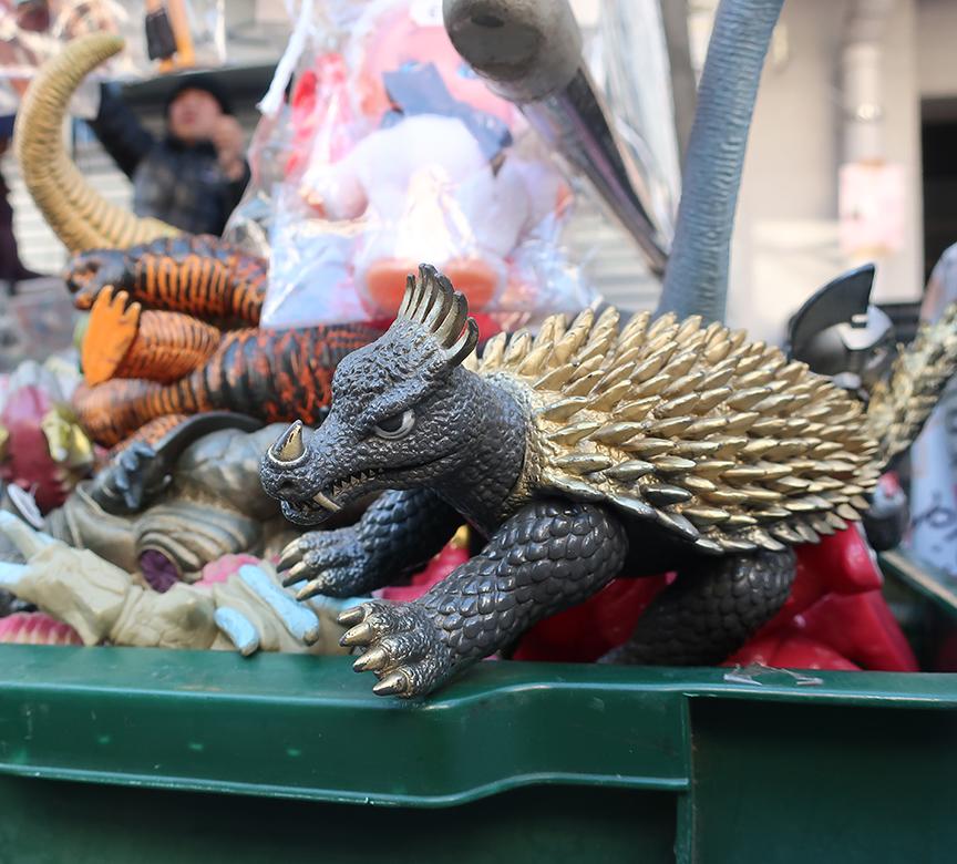 Godzilla monster toys being sold at the Setagaya Boroichi flea market in Tokyo
