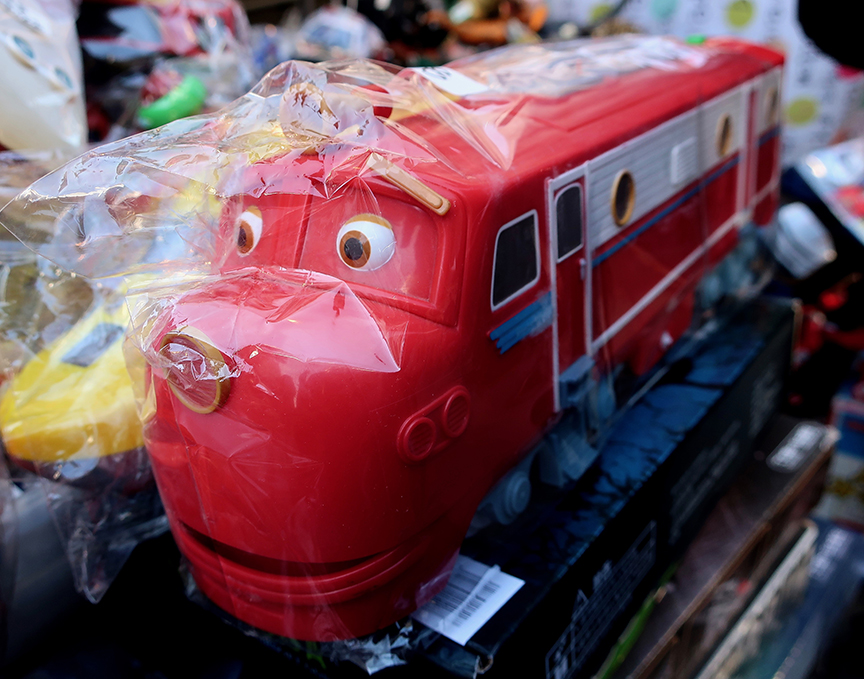 Vintage train toy being sold at the Setagaya Boroichi flea market in Tokyo