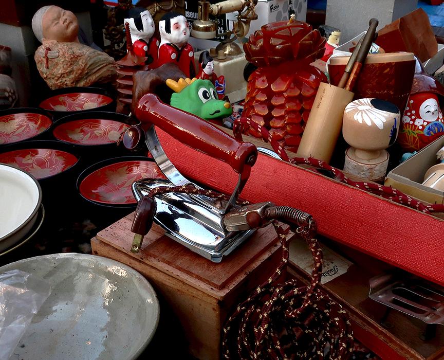 Goods at the Setagaya Boroichi flea market in Tokyo