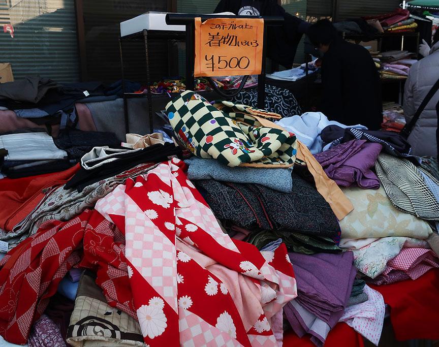 Secondhand kimono being sold at the Setagaya Boroichi flea market in Tokyo