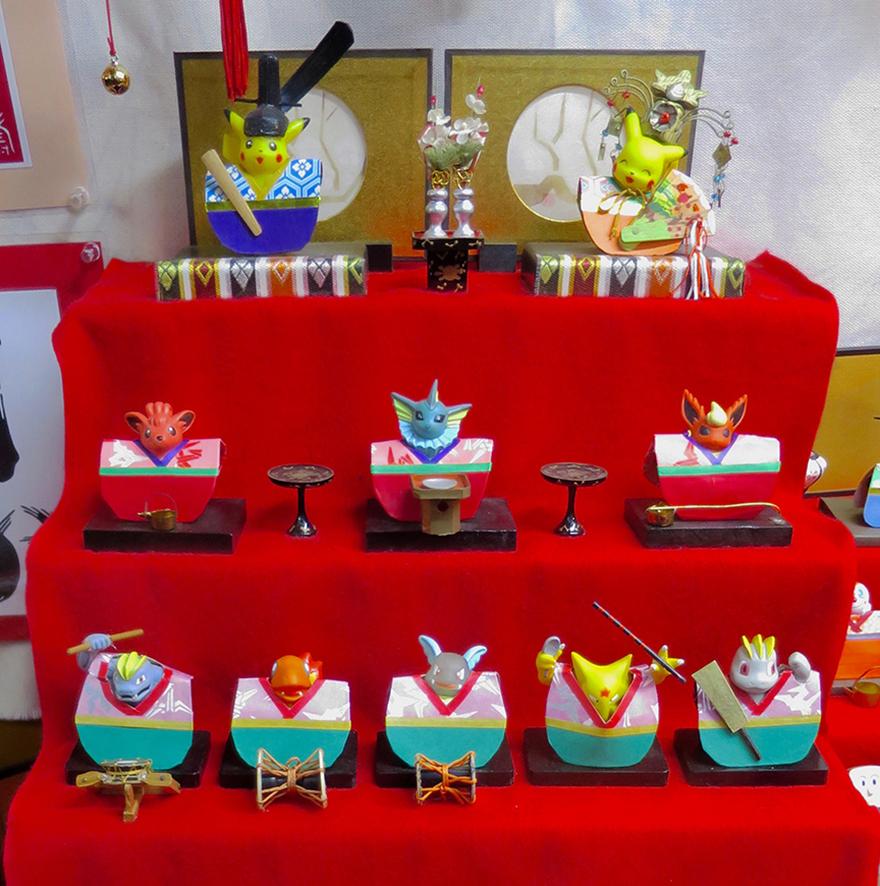 Katsuura Doll Festival hina matsuri doll display featuring Pokemon characters