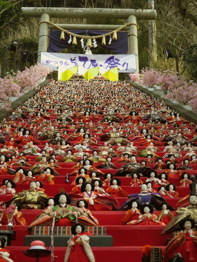 Katsuura Doll Festival hina matsuri thousands of dolls on the steps of the Tomioka Shrine