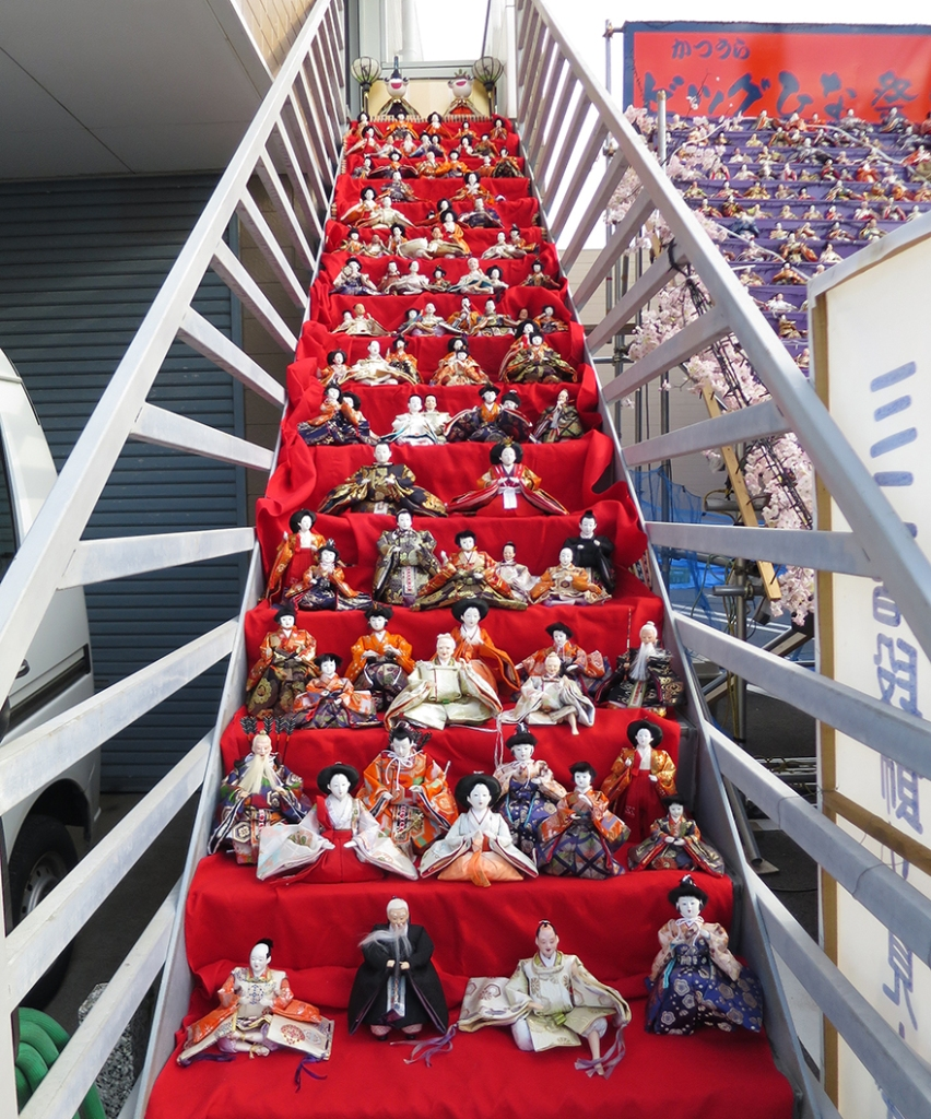Katsuura Doll Festival hina matsuri thousands of dolls on the steps of a private staircase