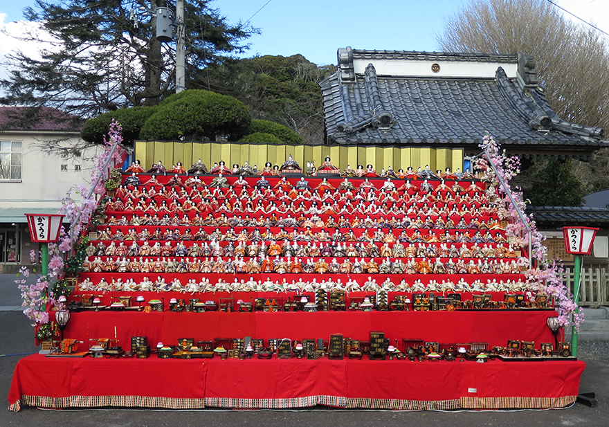 Katsuura Doll Festival hina matsuri dolls on a private staircase