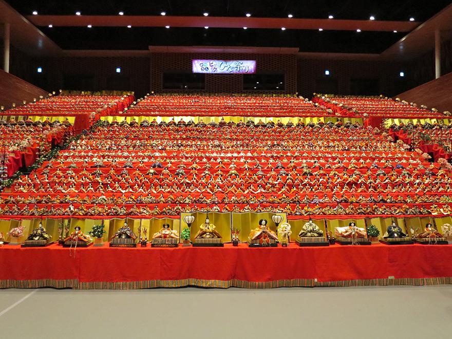 Katsuura Doll Festival hina matsuri thousands of dolls in the gymnasium bleachers