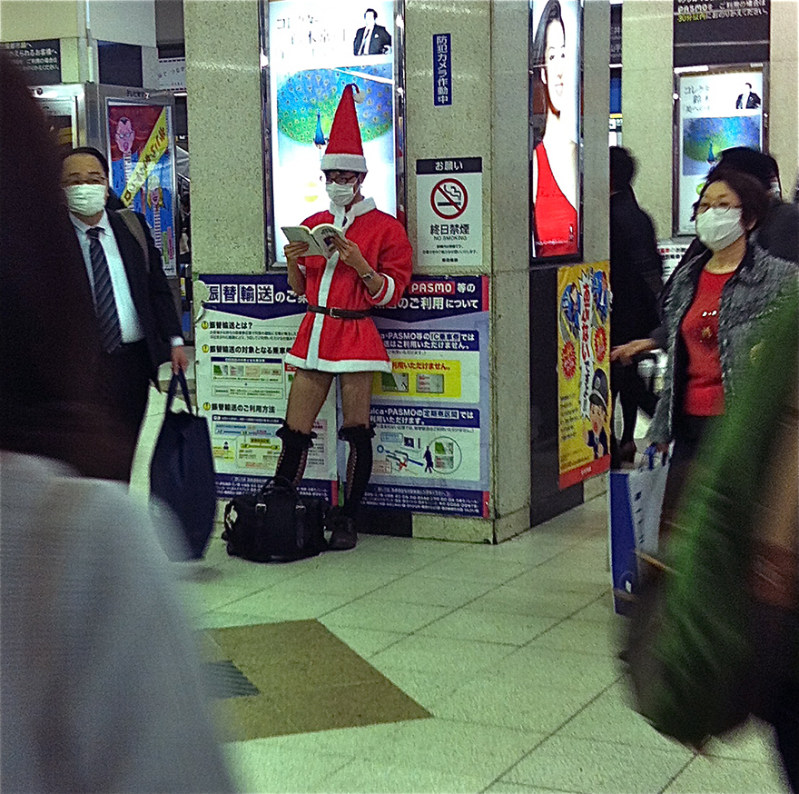 Man dressed as sexy Santa t Shibuya Station