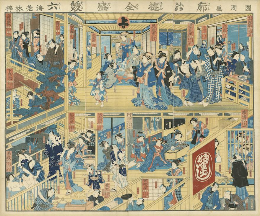 E-sugoroku Board of a Teahouse in the Yoshiwara by Toyohara Kunichika