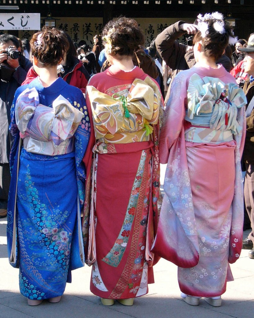Three young women dressed in kimonos on Coming-of-age Day at the Meiji Shrine