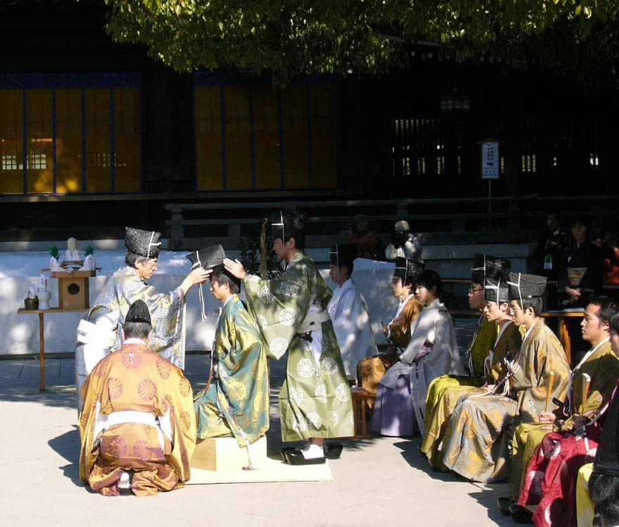 Young men in traditional dress at ceremony on Coming-of-age Day at the Meiji Shrine