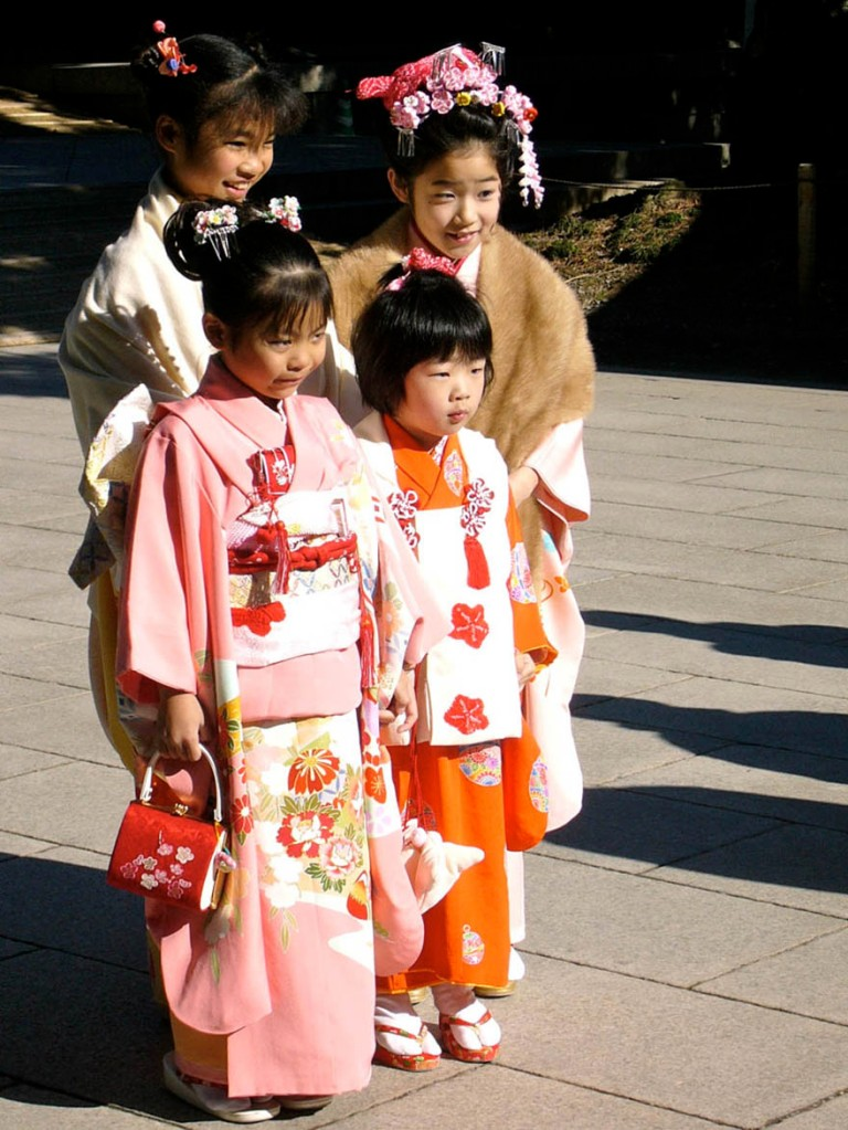Little girls dressed in kimonos on Coming-of-age Day at the Meiji Shrine