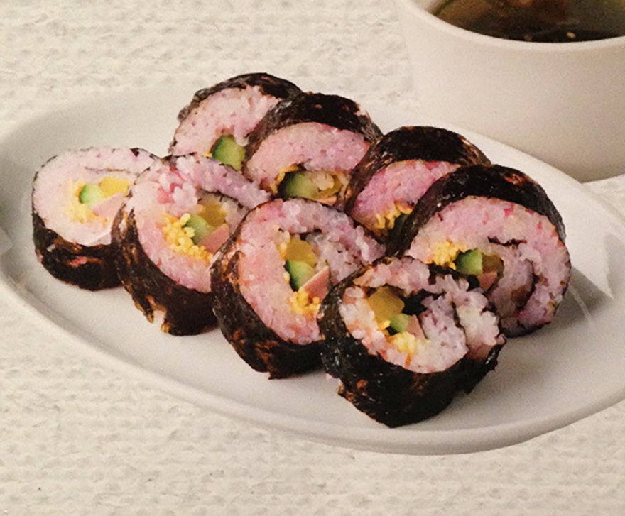 Pink rice sushi roll for cherry blossom season