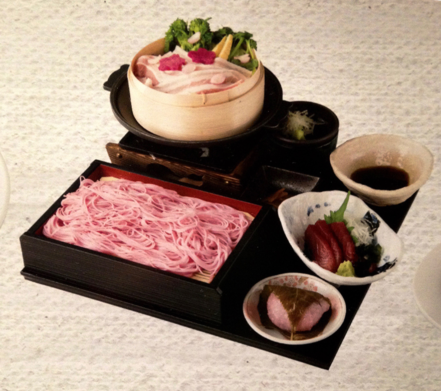 Entire teishoku lunch of pink foods for cherry blossom season