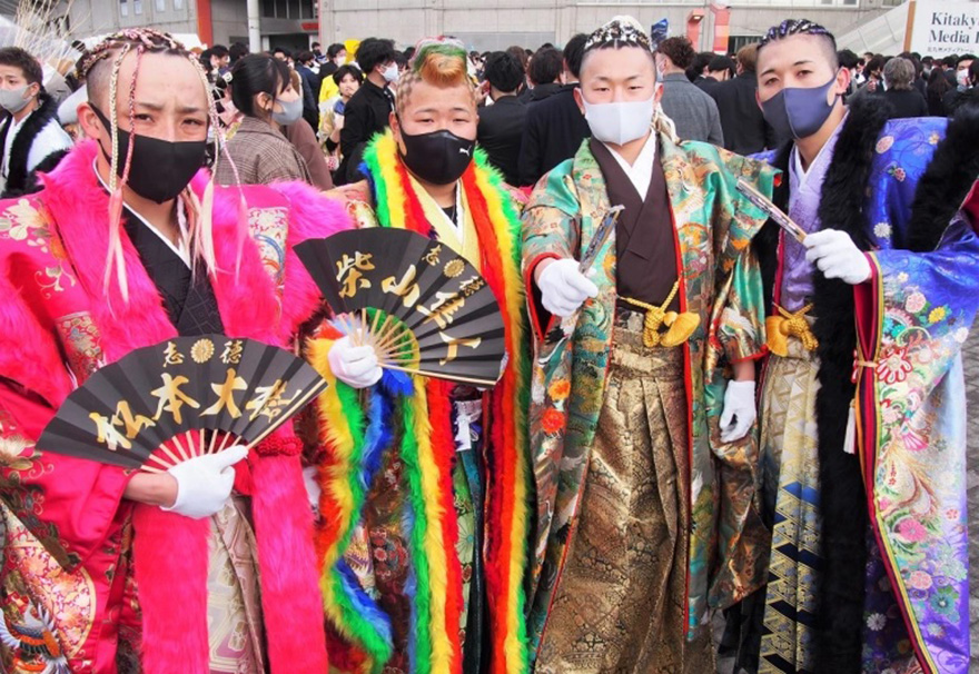 Young men dressed up in Kitakyushu on Coming-of-age Day