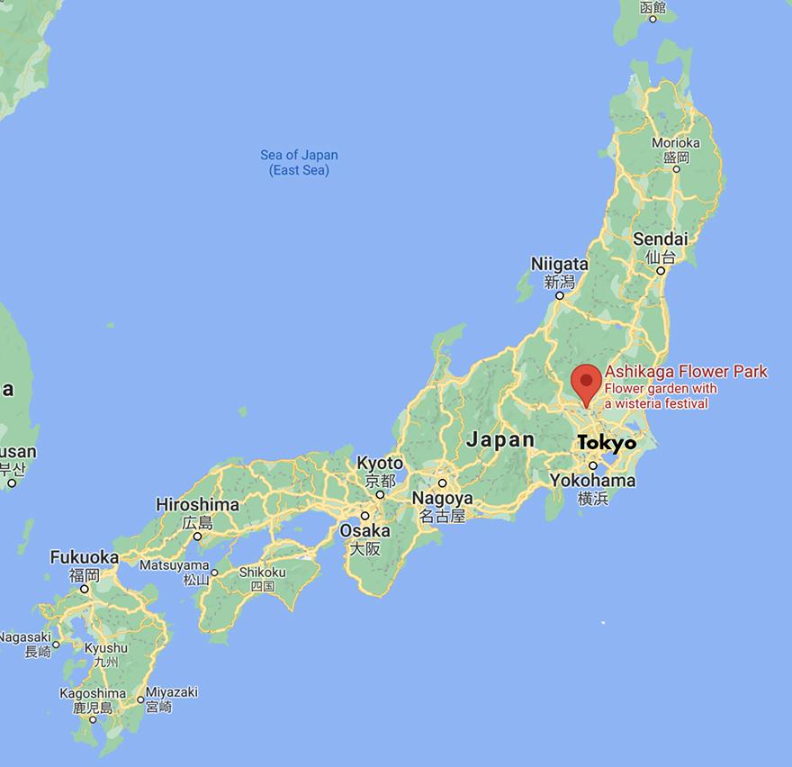 Map showing Ashikaga Flower Park in Japan