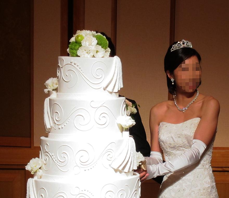 "Bride ""cutting"" a fake cake at a Japanese wedding"