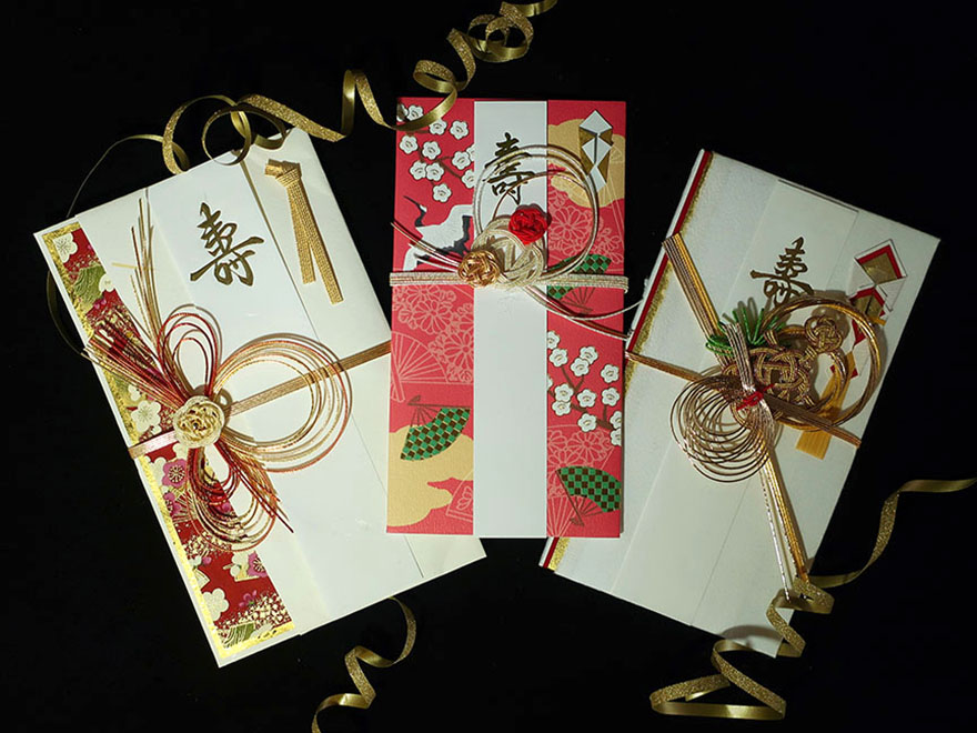 Fancy envelopes for giving money at a Japanese wedding
