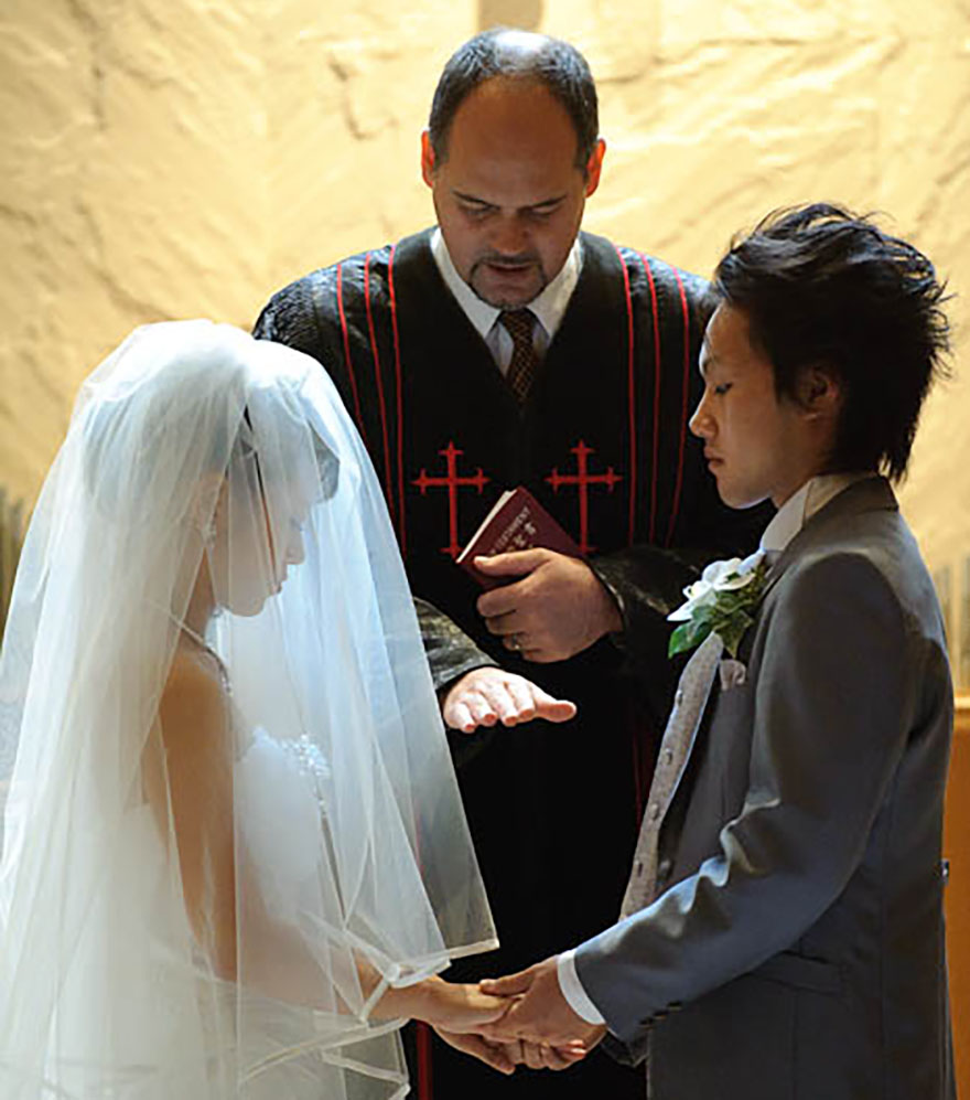 Foreign actor hired to portray minister performing a Japanese wedding ceremony