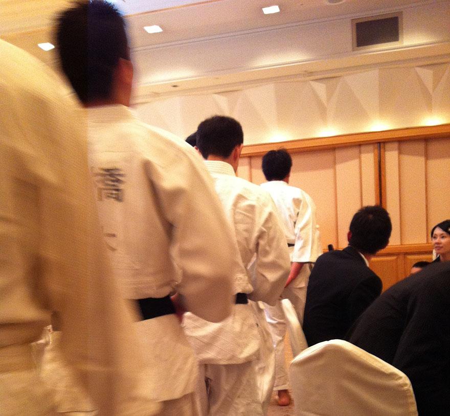 Wedding guests in judo gi