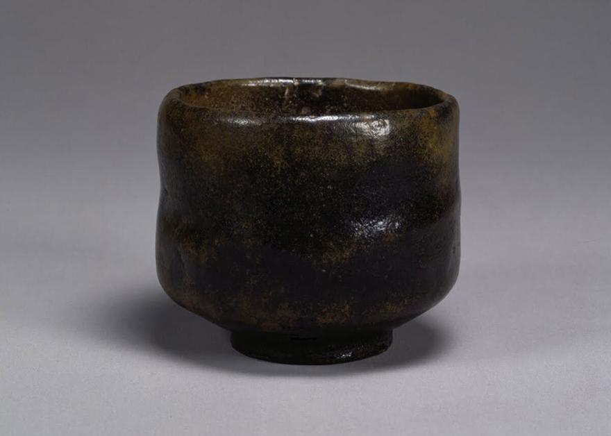 Black Raku tea bowl by Chojiro