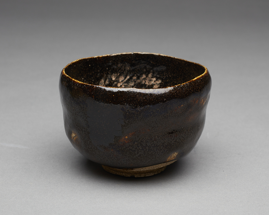 Black Raku tea bowl by Ryonyu
