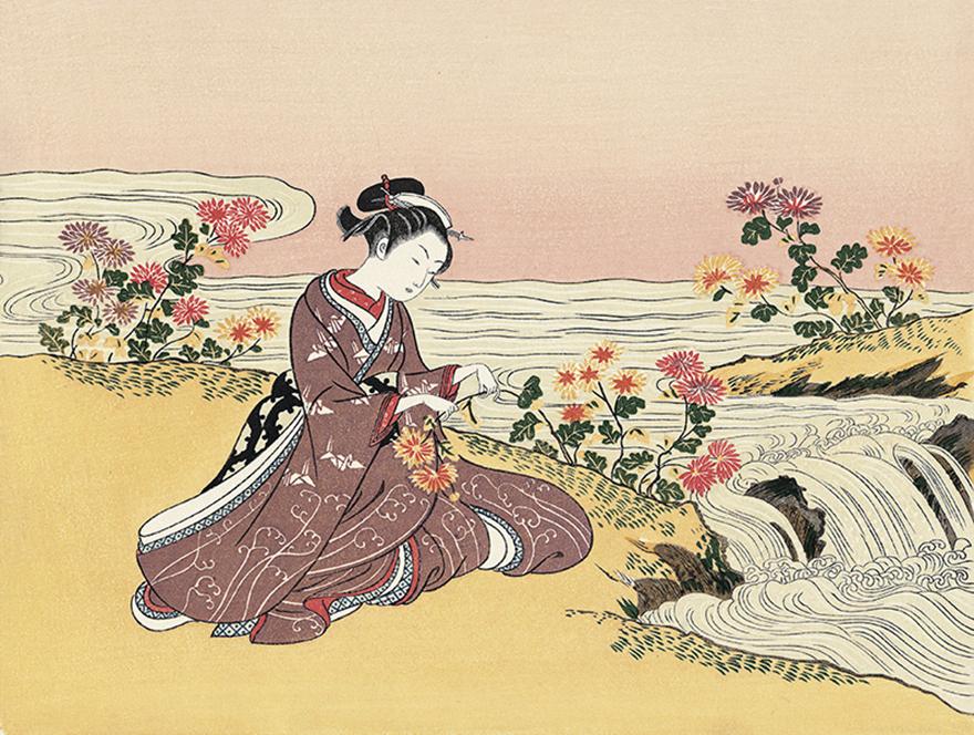 Woodblock print of a girl with chrysanthemums by Suzuki Harunobu