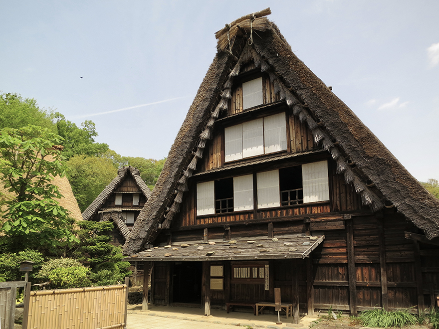 Thatch-roofed farmhouses at the Nihon Minka-en Japanese Folk House Garden