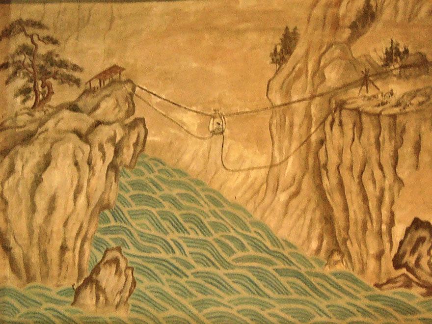 Painting of makeshift gondola at the Nihon Minka-en Japanese Folk House Garden