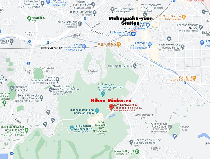 Local map to the Nihon Minka-en Japanese Folk House Garden
