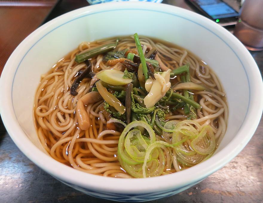 a bowl of sansai mountain vegetable soba at the Nihon Minka-en Japanese Folk House Garden