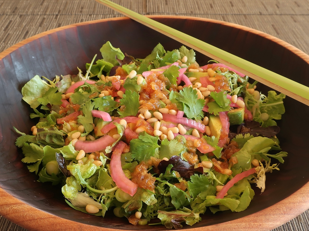 Green salad with pickled onions, pine nuts and Japanese wafu onion dressing