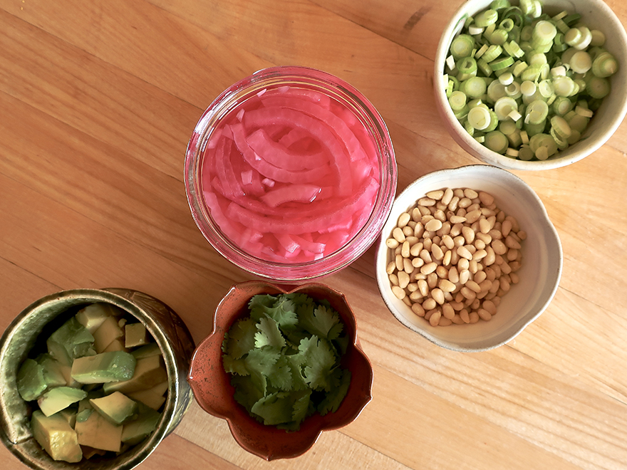 Ingredients for green salad with pickled onions, pine nuts and Japanese wafu onion dressing