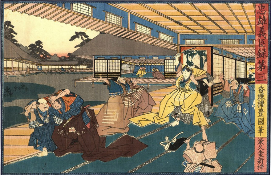 Woodblock print showing Lord Asano attacking Lord Kira