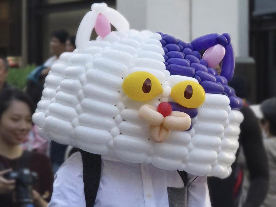 Crazy ghost cat balloon mask in the Bakeneko Parade in Kagurazaka