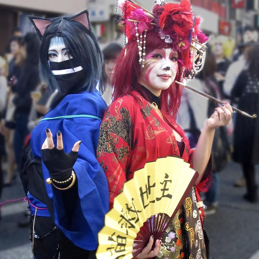 People dressed up as crazy ghost cat ninja and oiran in the Bakeneko Parade in Kagurazaka