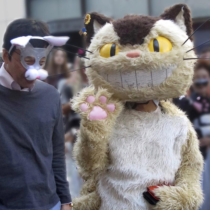 Someone dressed up in a Catbus costume in the Bakeneko Parade in Kagurazaka