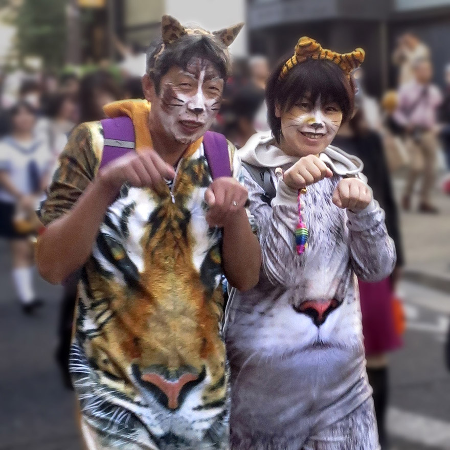 People dressed up as crazy ghost cats in the Bakeneko Parade in Kagurazaka