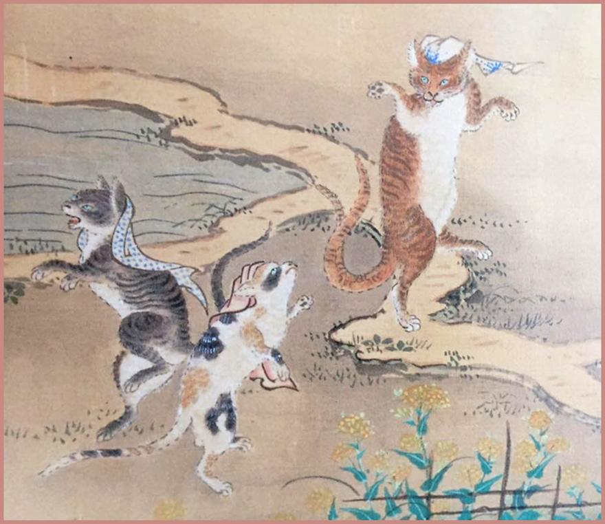 Woodblock print by Toriyama Sekien featuring bakeneko