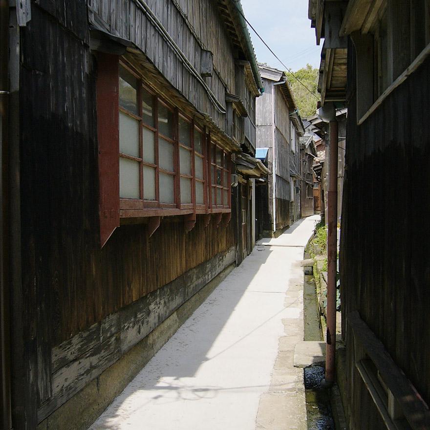 Narrow pedestrian street in a town on Sado Island