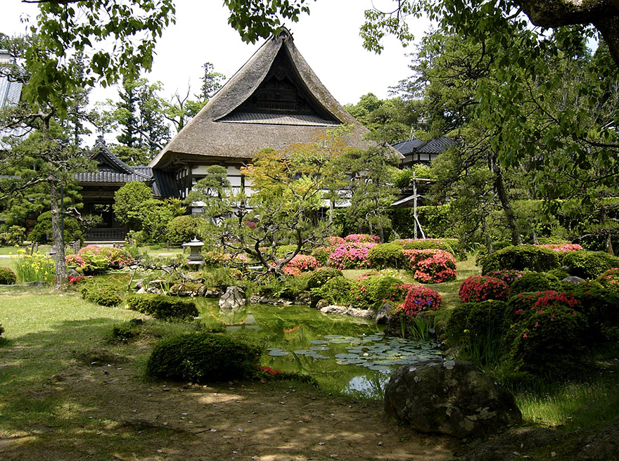 Nichiren temple garden on Sado Island