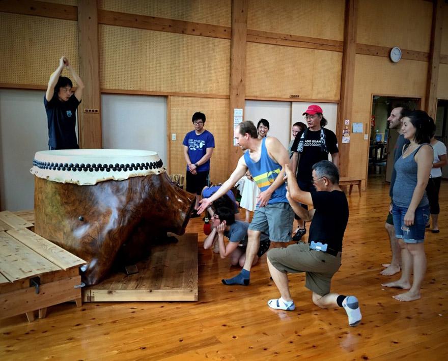 Taiko drumming experience at Sado Island Taiko Center