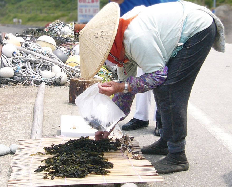 Woman selling dried seaweed on Sado Island